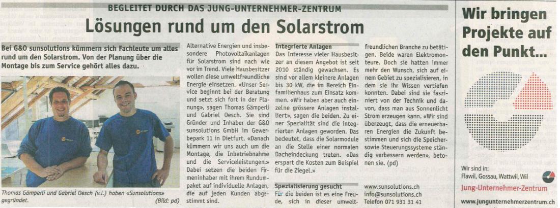 Jungunternehmerzentrum, Wiler Zeitung, Solartechnik, Photovoltaik, Toggenburg